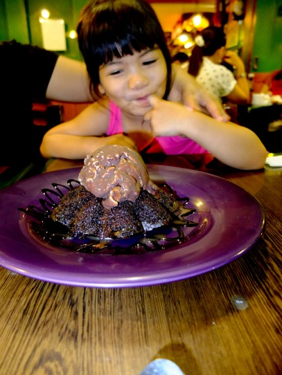 excited for her choco lava cake.